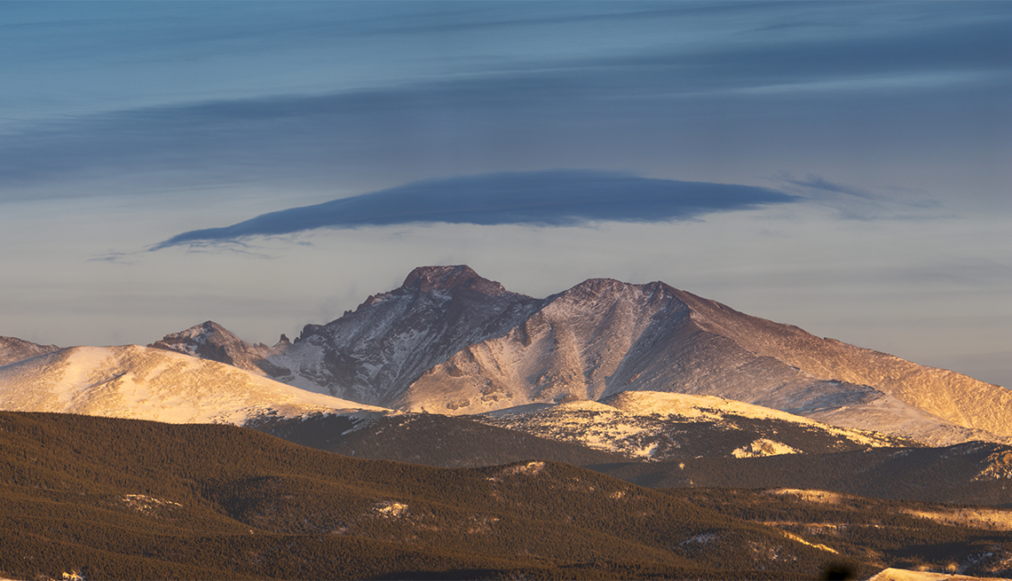item 2, Gallery image. At 14,259 feet, Longs Peak is the park's highest point (viewed here from Trail Ridge Road).