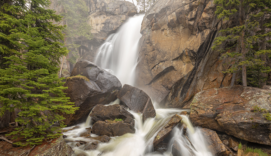 item 7, Gallery image. A moderate 2.7 mile hike from the Wild Basin Trailhead, 40-foot Ouzel Falls is one of the most beautiful waterfalls in the park.