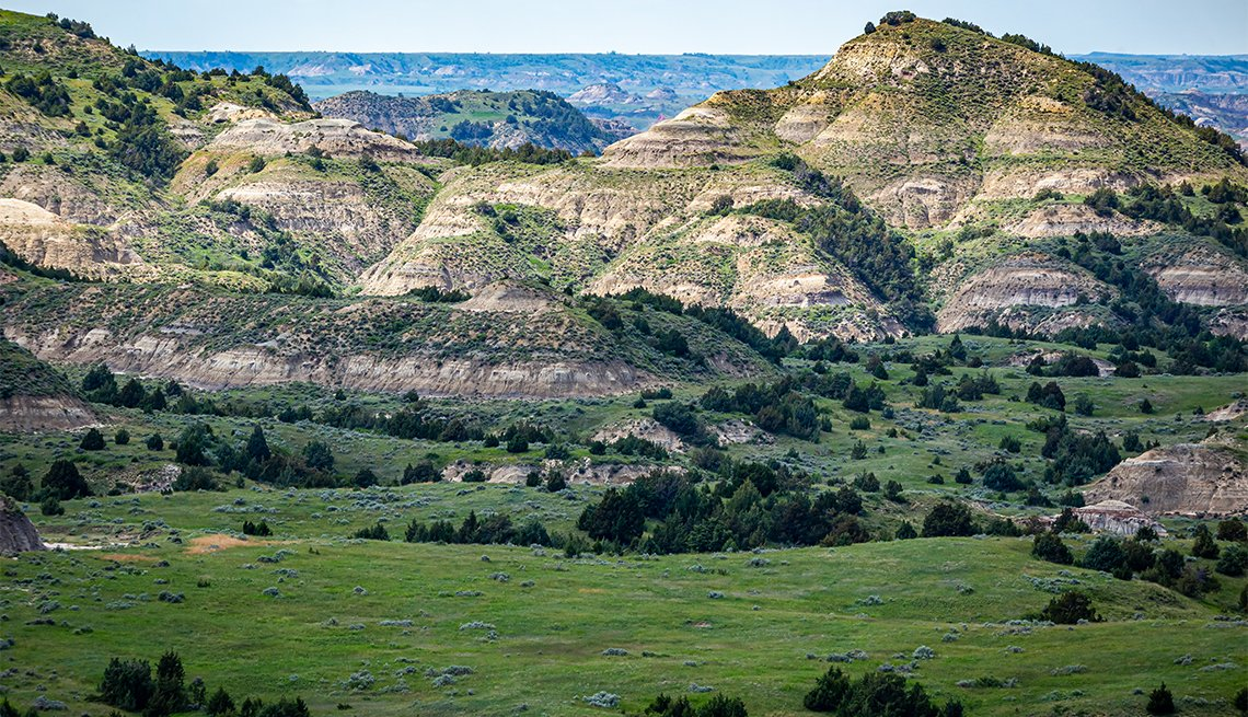 A panoramic view from the Painted Canyon Overlook in the South Unit of Theodore Roosevelt National Park near Medora, North Dakota