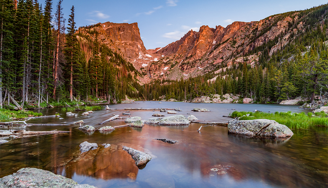 Alpenglow kisses Hallet Peak in Rocky Mountain National Park