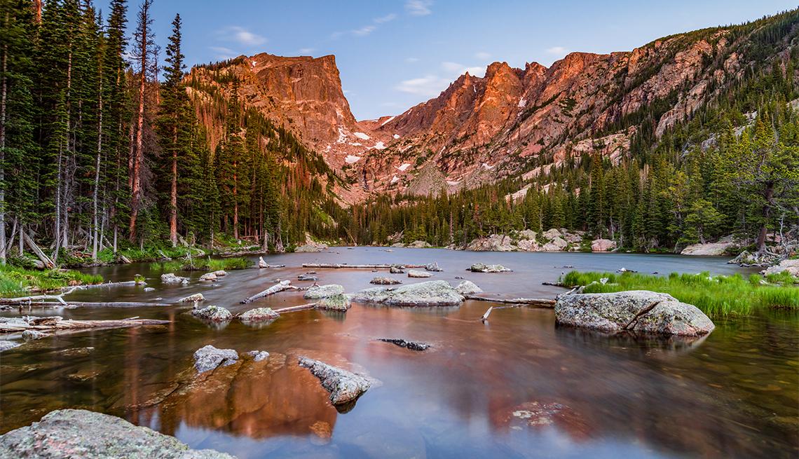 Alpenglow kisses Hallet Peak in Rocky Mountain National Park