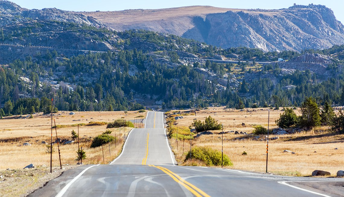 Highway leading to wilderness in the Shoshone National Forest and the Beartooth Mountains in Wyoming