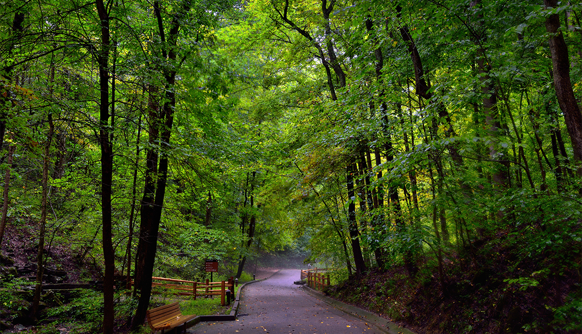 main walkway from the visitors center in Mammoth Cave National Park