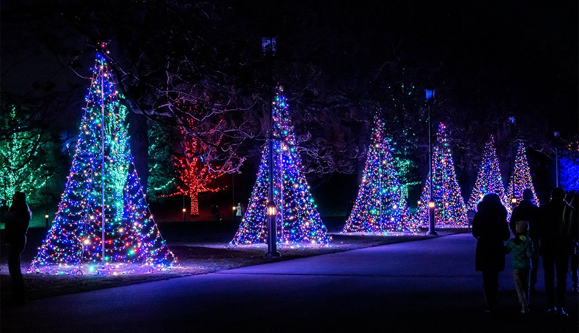 item 1 of Gallery image - Night view of Christmas lights & decorations; Longwood Gardens