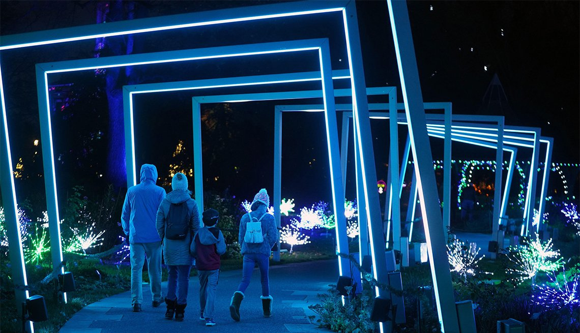 item 6 of Gallery image - A family walks through a lighted display on opening night of Garden Glow at The Missouri Botanical Garden in St. Louis