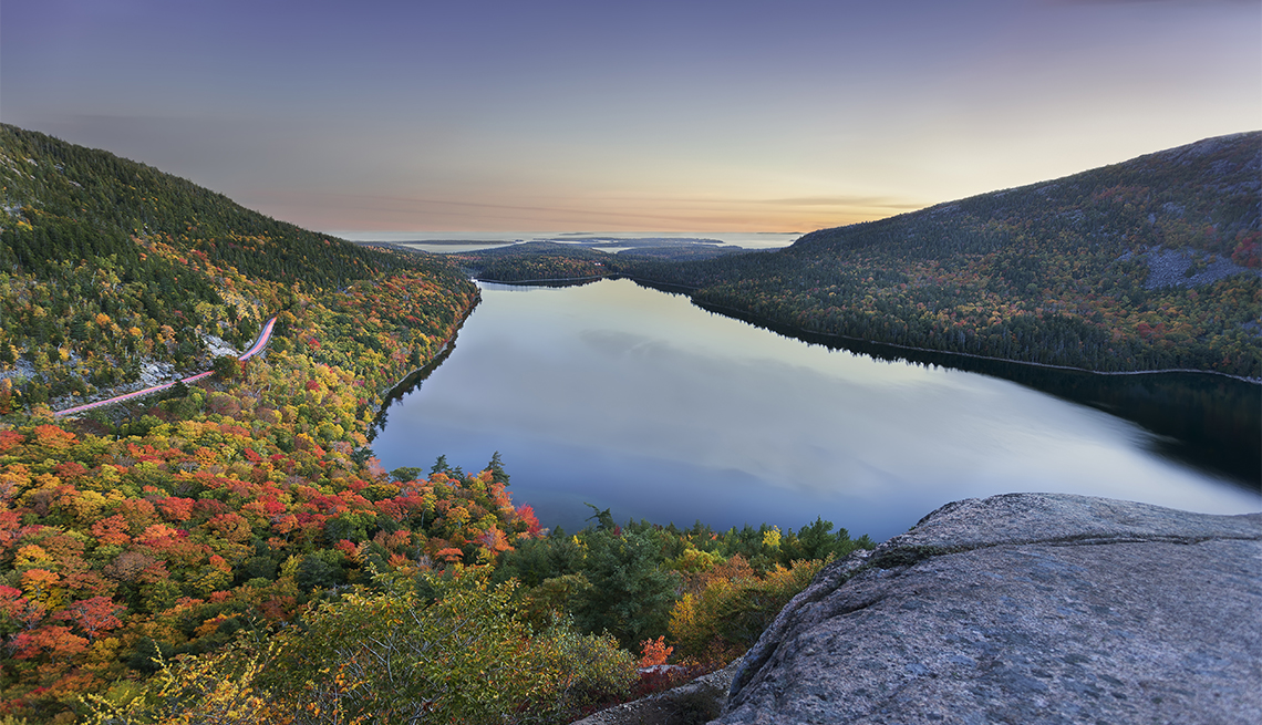 View of Jordan pond from top of South bubble mountain at dusk