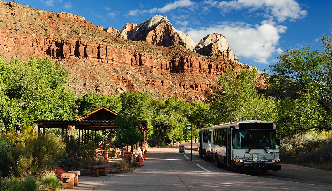 Shuttle bus stop, Zion National Park