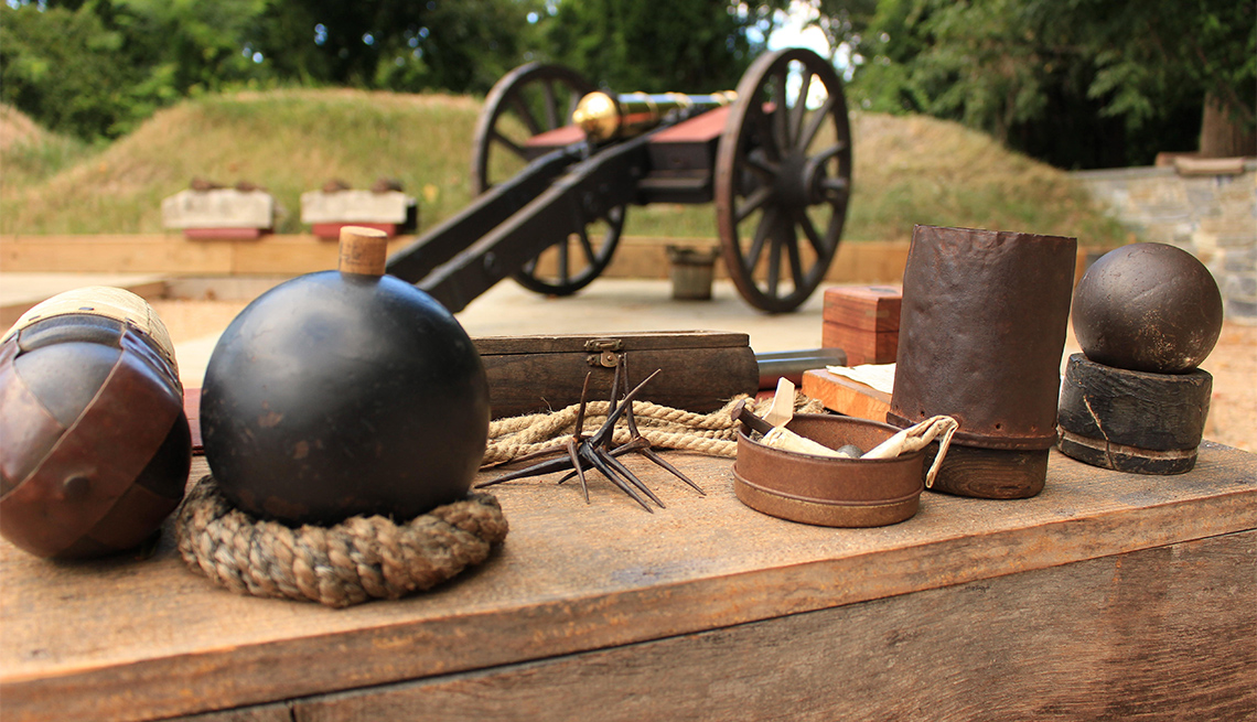 Canon and cannonballs display at the American Revolution Museum at Yorktown, VA