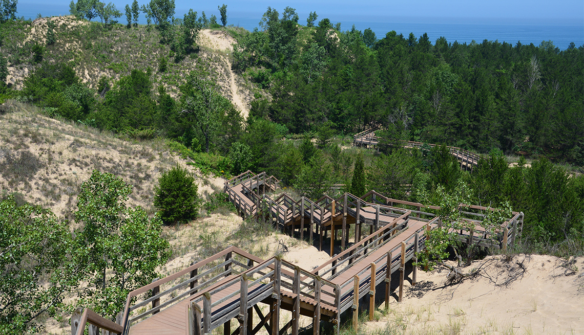 item 1 of Gallery image - Boardwalk stairs leading to the overlook on the Dune Succession Trail in the West Beach section of the Indiana Dunes National Park