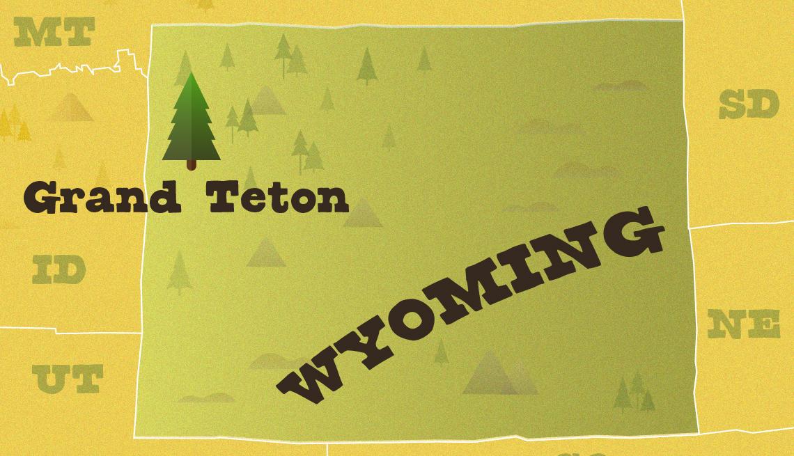 Mapa del Parque Nacional Grand Teton en Wyoming