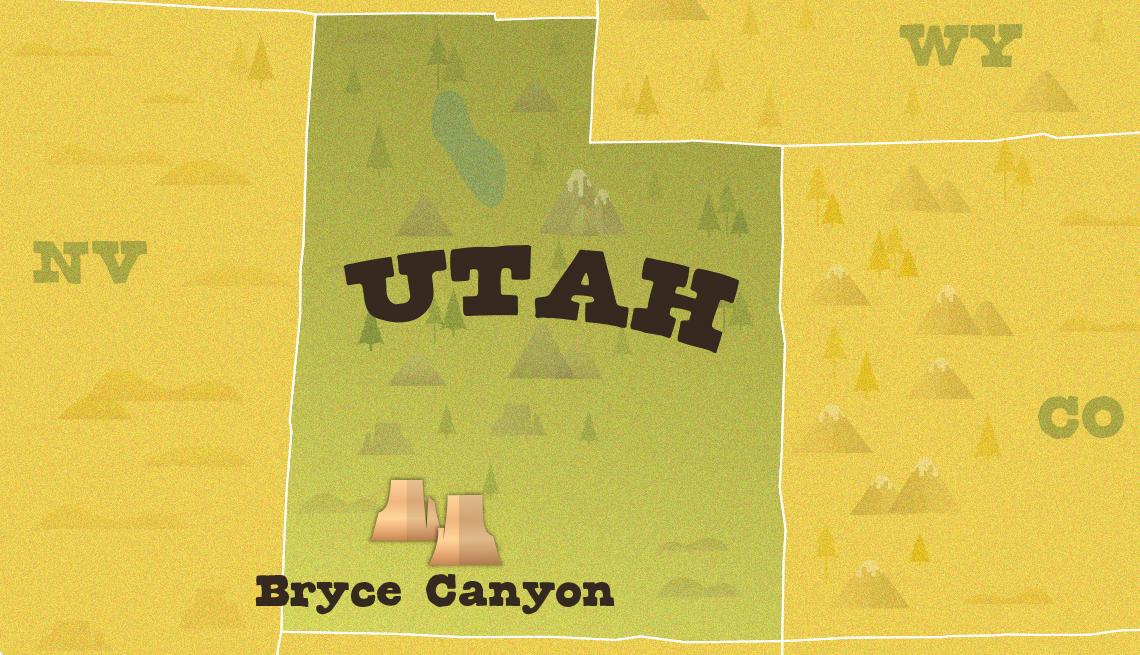 Mapa del estado de Utah que muestra la ubicación del parque nacional Bryce Canyon