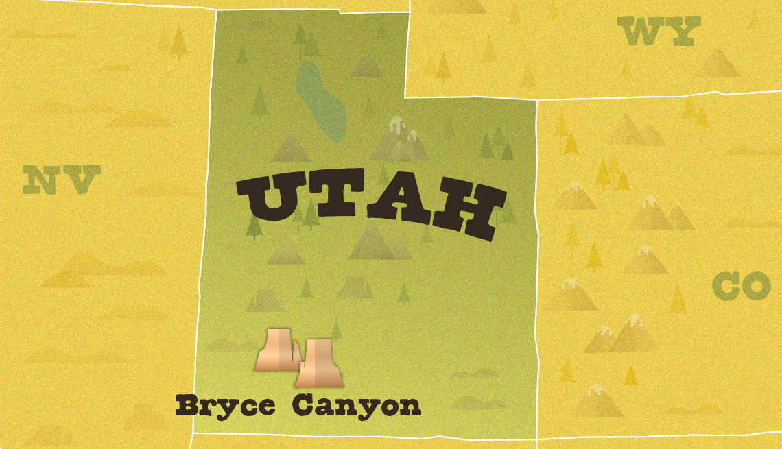a map of the us highlighting utah showing the location of bryce canyon national park