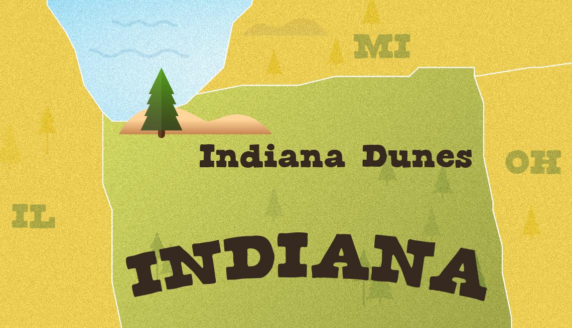 Mapa muestra la ubicación del Parque Nacional Indiana Dunes
