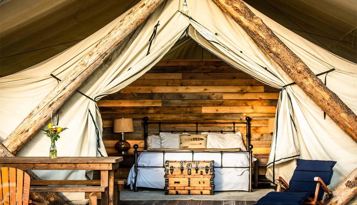 a tent at Conestoga Ranch