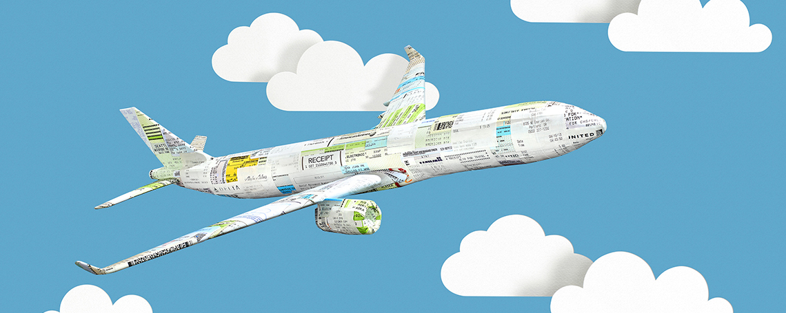 three dimensional illustration of an airplane flying among paper clouds against a blue sky. the plane is made up of airline ticket stubs and baggage receipts