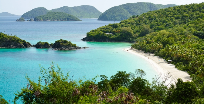 A scenic view of Trunk Bay on St. John's island