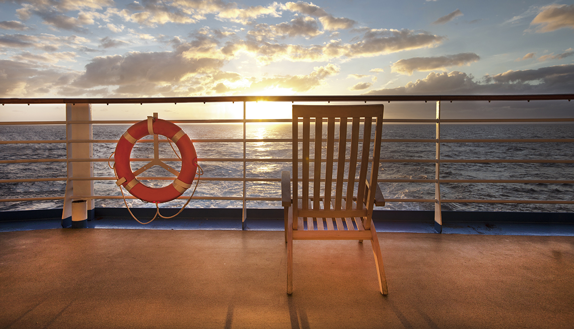 Deck Chair on a Cruise Ship, Sunset Ocean Clouds, How to Stay Safe on a Cruise Ship