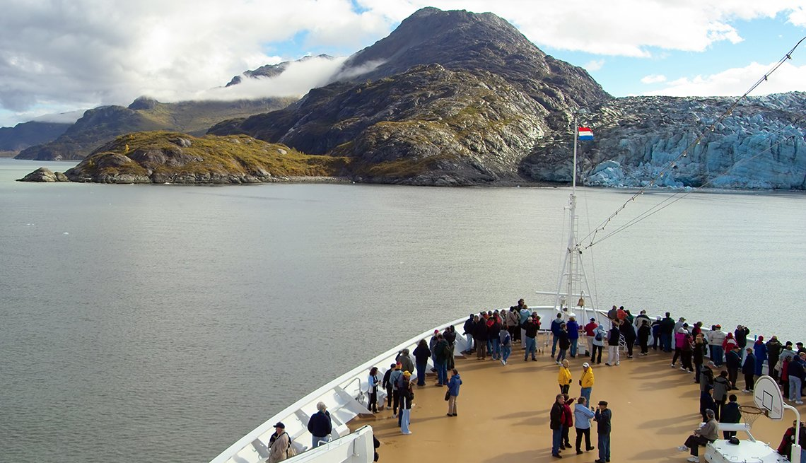 View of Glacier Bay, Alaska from Bow of Cruise Ship, More Travelers Using Alaska Cruises