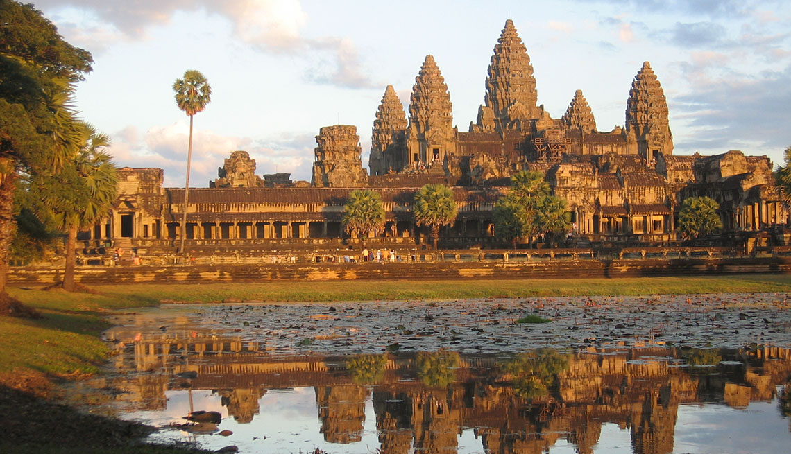 The Mekong River With Angkor Wat In The Background In Cambodia, Best River Cruises