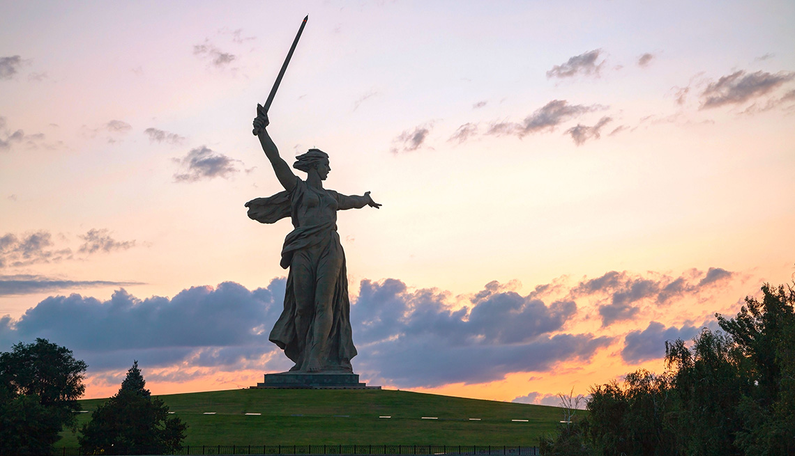 A Statue Overlooking The Volga River In Russia, Best River Cruises