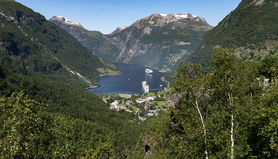 Geiranger and Fjord scenic view with cruise ships