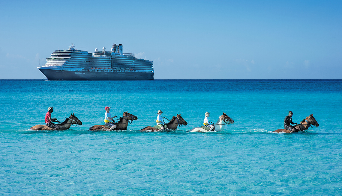Holland America passengers riding horses during an excursion