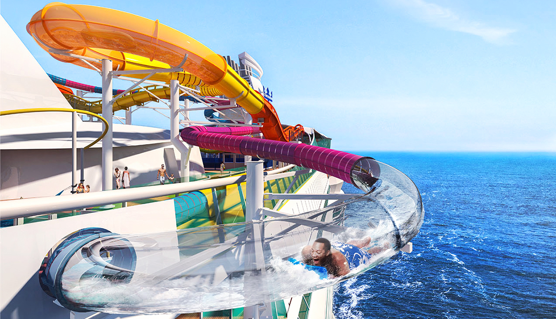 man on a waterslide aboard a Royal Caribbean ship