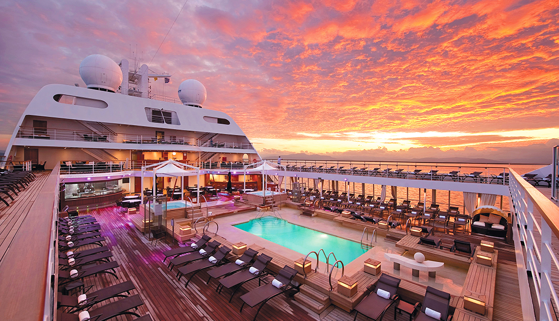 Pool deck at sunrise on the Midship Seabourn Odyssey