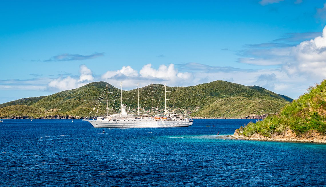 luxury sailing cruise ship at Guadeloupe, Caribbean Islands