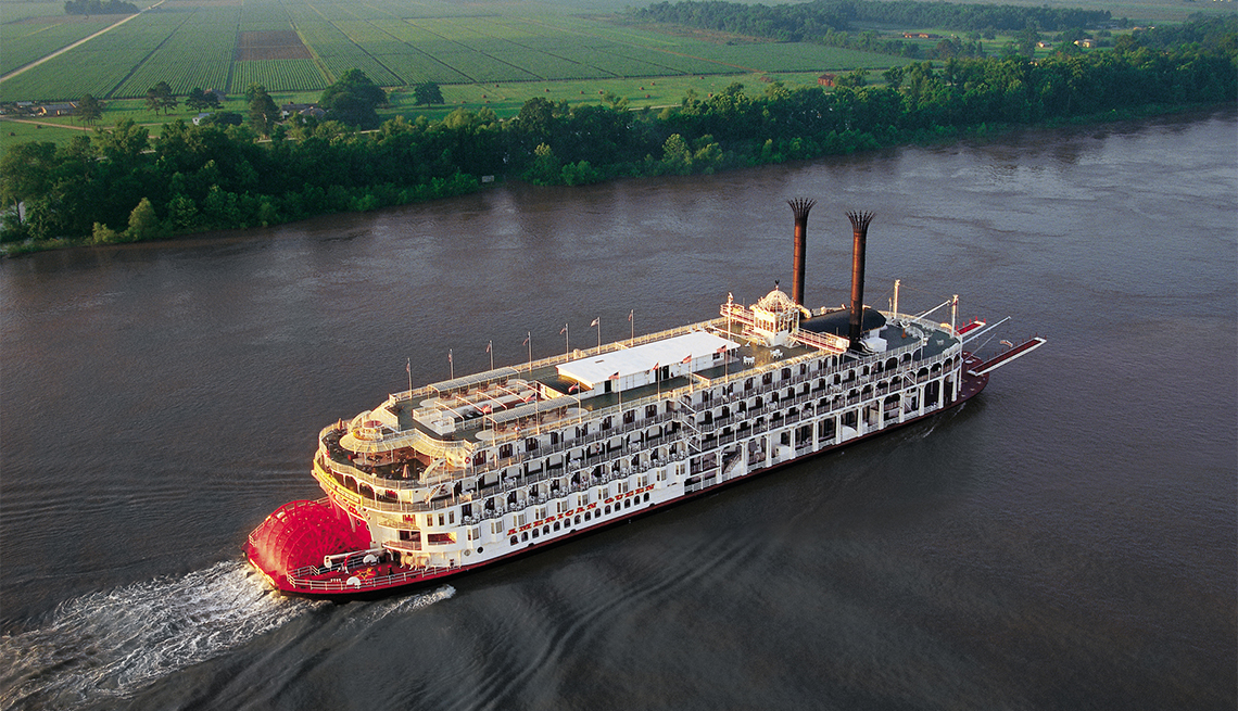 aerial photo of the American Queen cruise ship