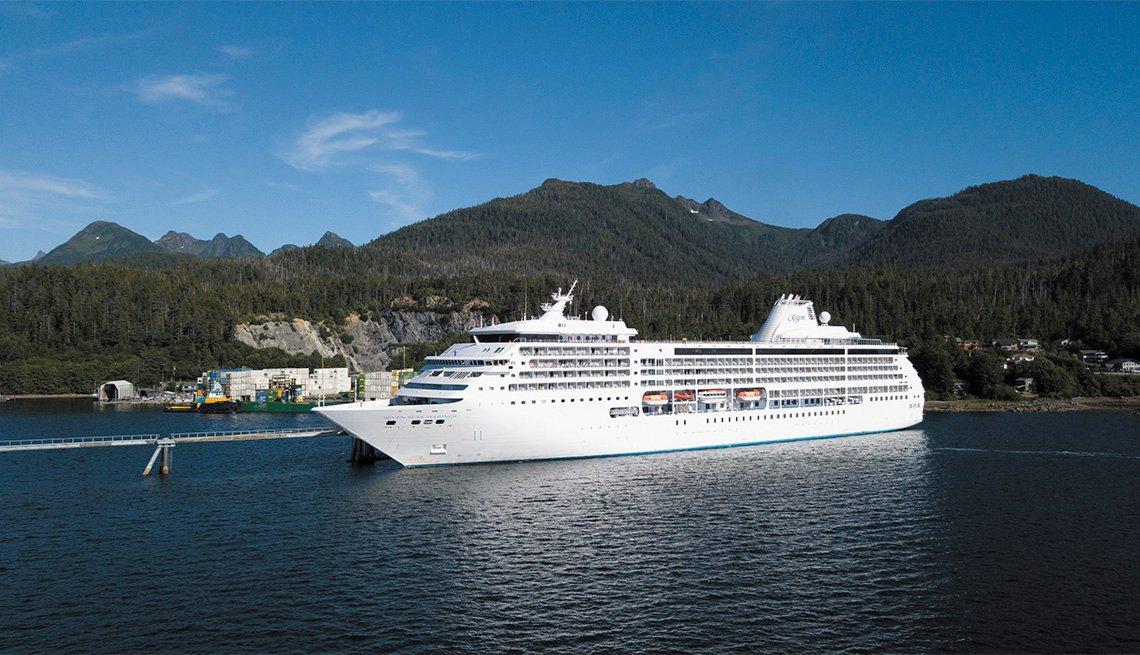 Regent Seven Seas cruise ship docked in Alaska