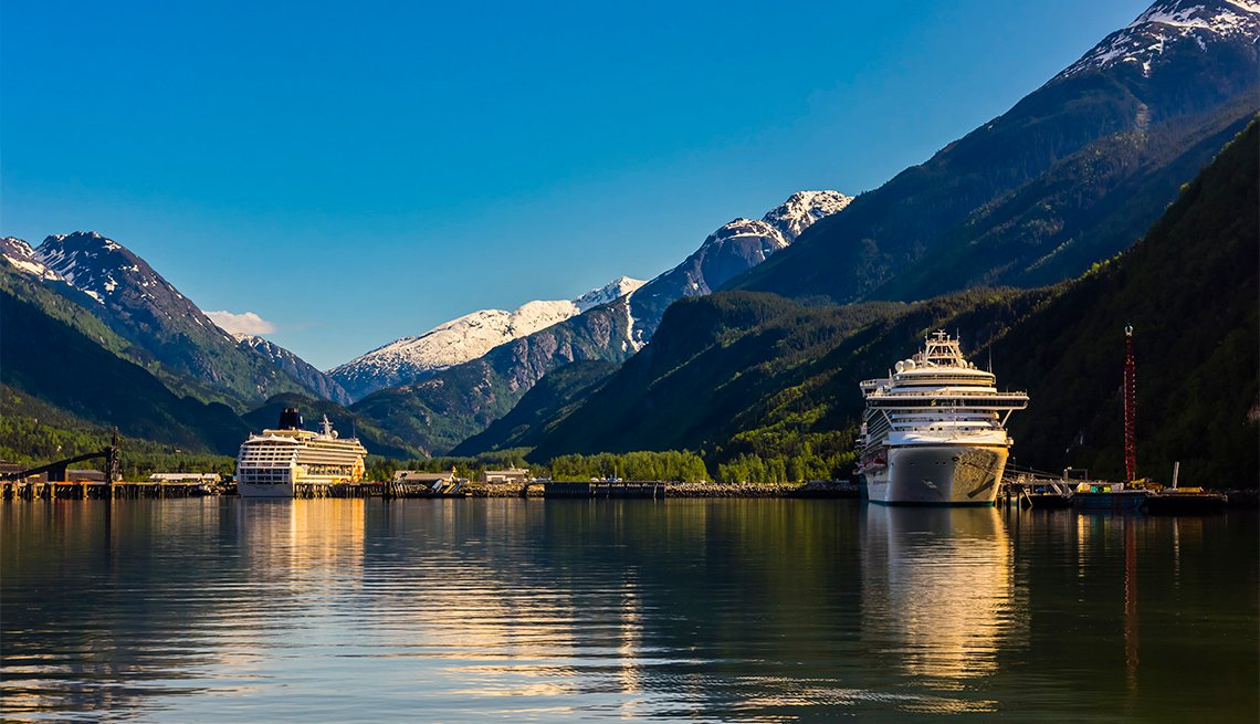 Cruise ships docked in Skagway, Alaska