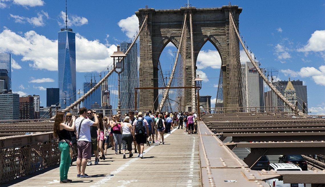 item 5 of Gallery image - People walking, Brooklyn Bridge, New York City