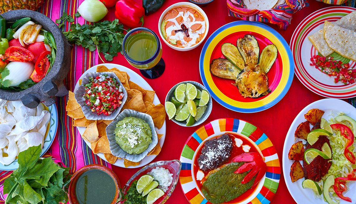 Colorful plates of food in Cancun