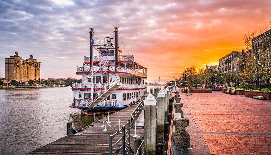 Savannah boat and river