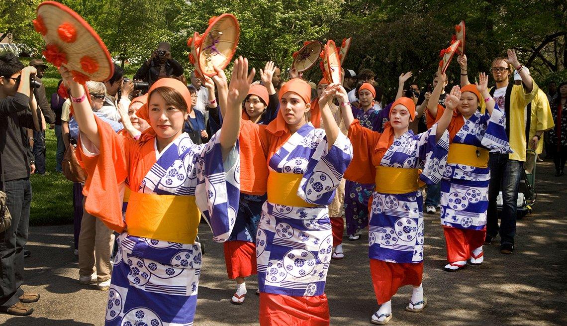 dancers during the Sakura Matsuri Cherry Blossom Fest in Brooklyn