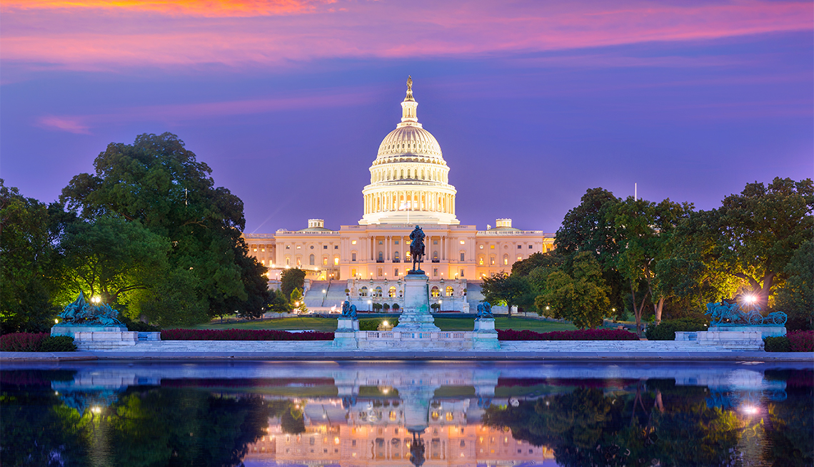 Capitol building sunset Washington DC