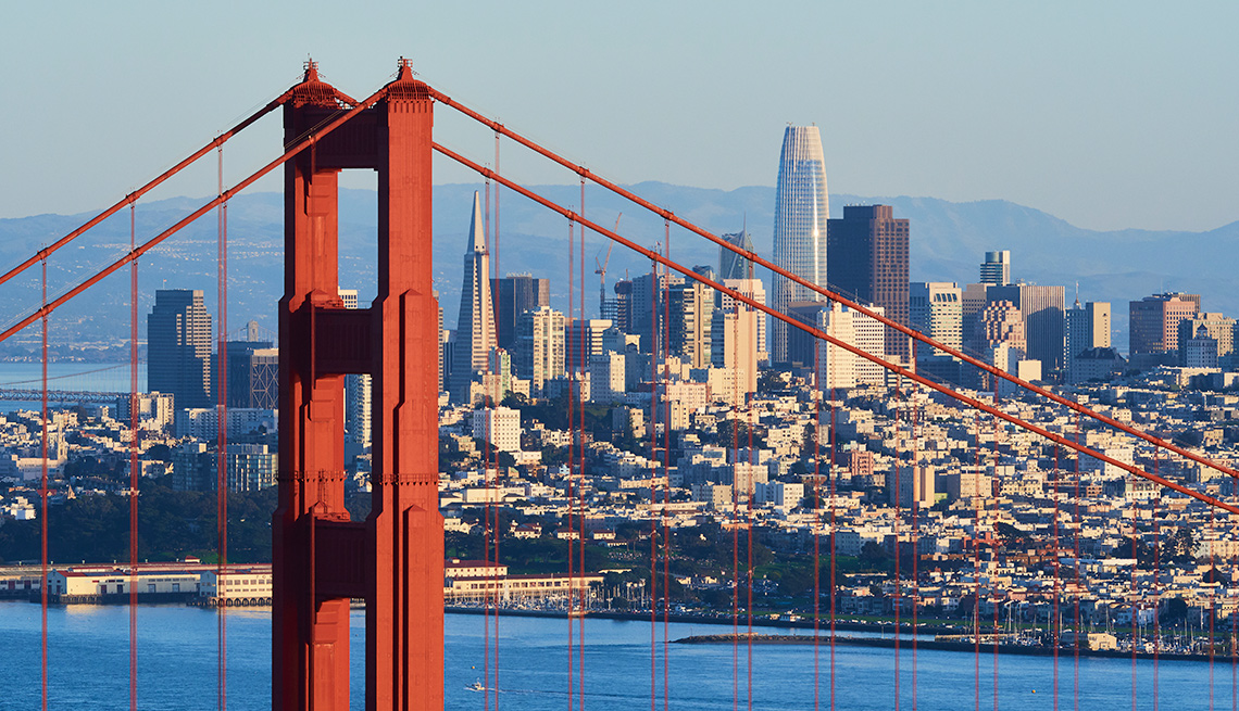 view of San Francisco and the Golden Gate Bridge