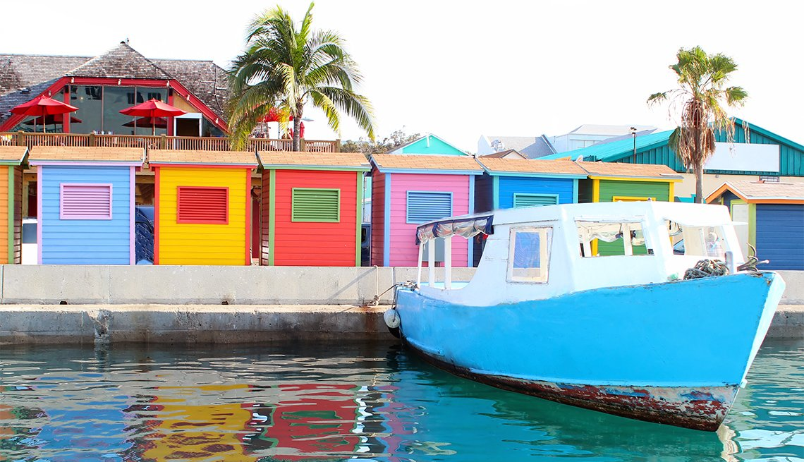 A colorful image of the waterfront area in downtown Nassau