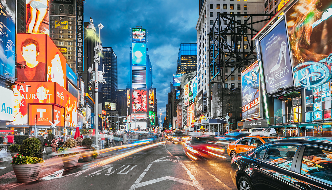 Evening rush hour in Times Square, New York City.
