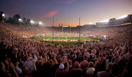 ans watch the Alabama Crimson Tide marching band perform before Alabama's 37-21 victory over the Texas Longhorns in the 2010 BCS Championship Game at the Rose Bowl in Pasadena, CA.