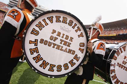 KNOXVILLE, TN - SEPTEMBER 12: Detail view of large drums as the Tennessee Volunteers marching band prepares to take the field before the game against the UCLA Bruins at Neyland Stadium on September 12, 2009 in Knoxville, Tennessee. The Bruins won 19-15. (Photo by Joe Robbins/Getty Images)