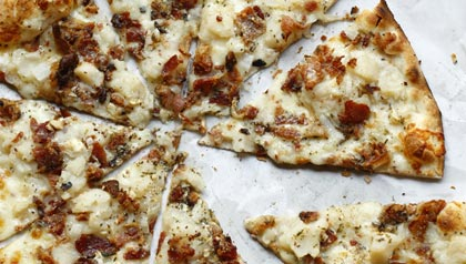 Mashed Potato Bacon Pizza. Bar; New Haven, CT.