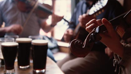 Musicians Playing in Irish Pub