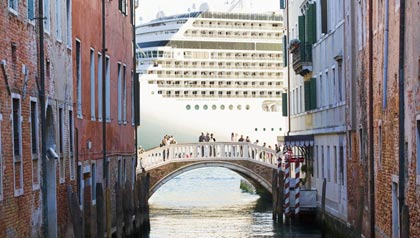 great Mediterranean cruises, seen from a canal in Venice