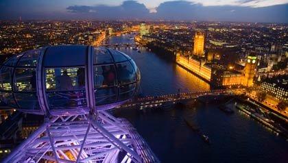 Vista del rio Tames desde el London Eye, Londres, Inglaterra