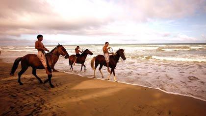 Muchachos montando a caballo en la playa de Guacuco en la isla Margarita en Venezuela.