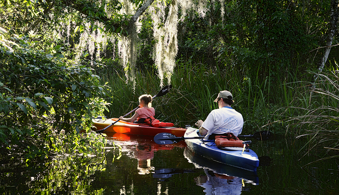Kayaking at big cypress national preserve in the everglades, affordable winter vacations