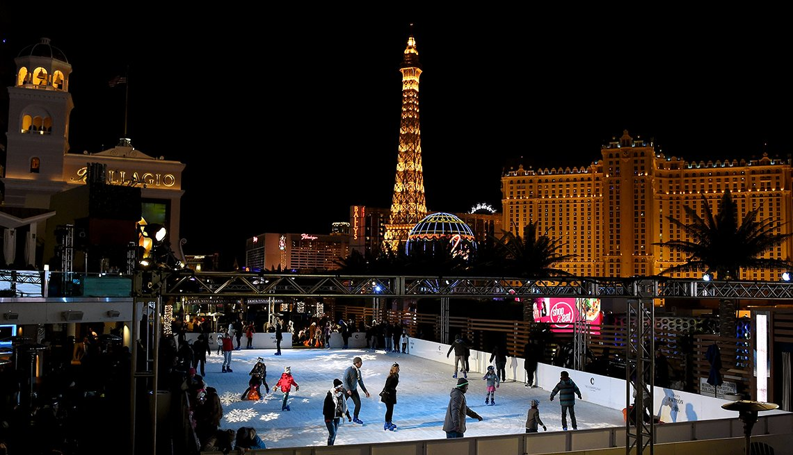 Ice skating at the rink at the Cosmopolitan in Las Vegas, affordable winter vacations