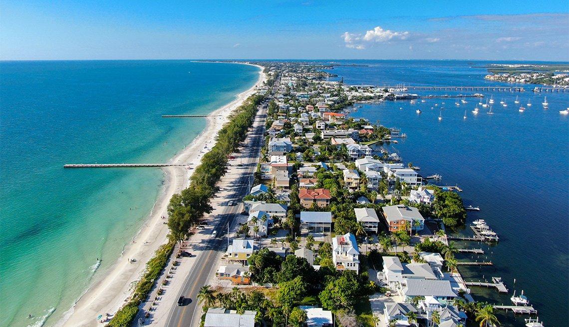 Aerial view of Anna Maria Island town and beaches